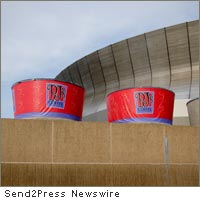 giant coffee cups at the Superdome